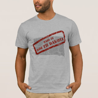 Made in South Dakota Grunge Map Mens Grey T-shirt
