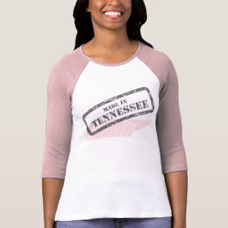 Made in Tennessee Grunge Map Ladies Pink Raglan T-Shirt