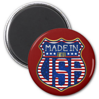Made in the USA 4th of July Proud American Logo 6 Cm Round Magnet