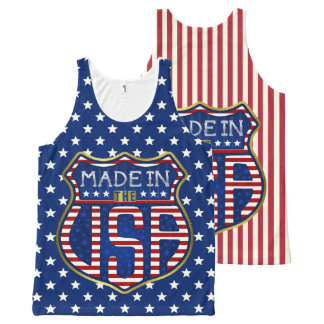 Made in the USA 4th of July Proud American Logo All-Over Print Tank Top