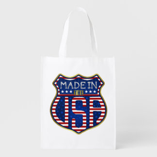 Made in the USA 4th of July Proud American Logo Reusable Grocery Bag