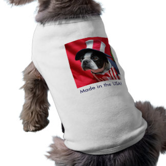 Made in the USA Dog Boston Terrier T Shirt Sleeveless Dog Shirt