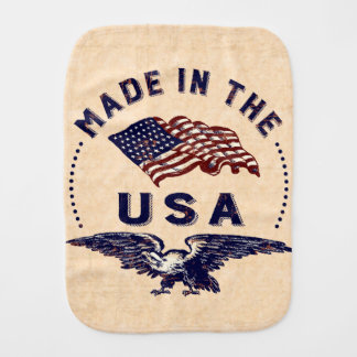 Made in the USA Vintage Eagle and Flag Burp Cloths