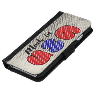 """Made in USA"" cute doodle sign, patriotic iPhone 6 Wallet Case"