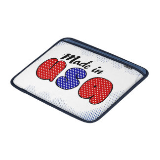 """Made in USA"" cute doodle sign, patriotic MacBook Sleeve"