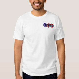 Made in USA DNA? -ON BACK- text is customizable T Shirts