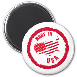 Made in USA rubber stamp design 6 Cm Round Magnet