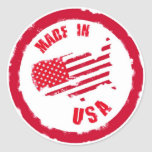 Made in USA rubber stamp design Classic Round Sticker