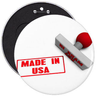 Made in USA Stamp or Chop on Paper Concept in 3d 6 Cm Round Badge