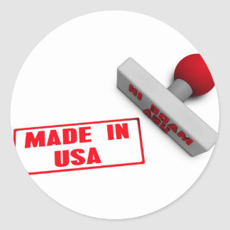 Made in USA Stamp or Chop on Paper Concept in 3d Round Sticker