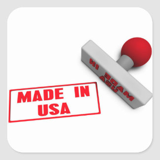 Made in USA Stamp or Chop on Paper Concept in 3d Square Sticker
