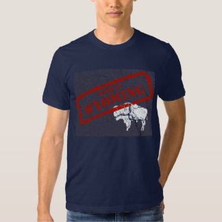Made in Wyoming Grunge Mens Navy Blue T-shirt