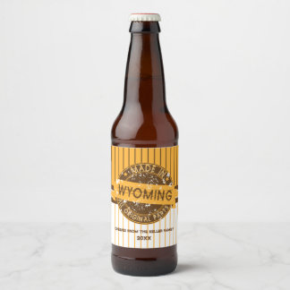 Made in Wyoming, Rustic Stamp Beer Bottle Label