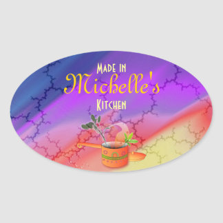 """""""Made in Your Kitchen"""" Multicolored Template Oval Sticker"""