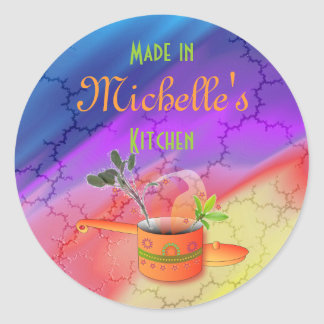 """""""Made in Your Kitchen"""" Multicolored Template Round Sticker"""