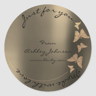 Made Love For You Name Butterfly Foxier Blush Gold Round Sticker