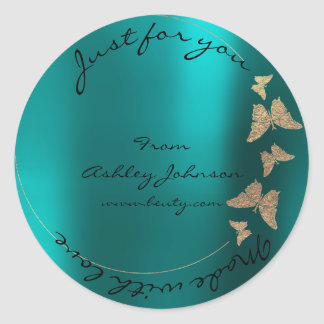 Made Love For You Name Butterfly Greenly Gold Teal Round Sticker