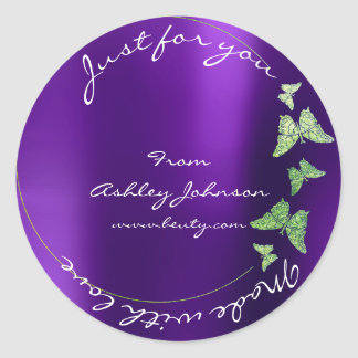 Made Love For You Name Butterfly Greenly Purple Round Sticker