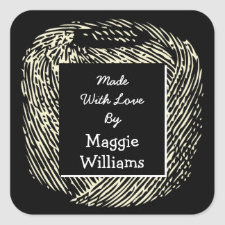 Made With Love Black and White Ball of Yarn v2 Square Sticker