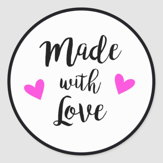 Made with love black, white and pink craft