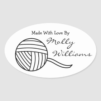 Made With Love Black White Ball of Yarn v3 Oval Oval Sticker