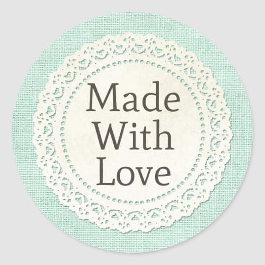 Made With Love Burlap Doily Product Packaging Round