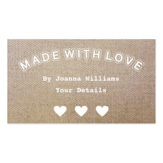 Made with Love Burlap Hessian Craft Shabby Tags 2 Pack Of Standard Business Cards