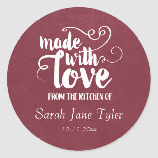 Made with Love Calligraphy Baking Classic Round Sticker