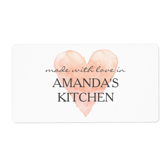Made with love coral heart homemade food labels