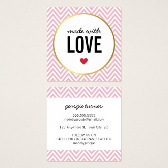 MADE WITH LOVE cute packaging chevron black pink