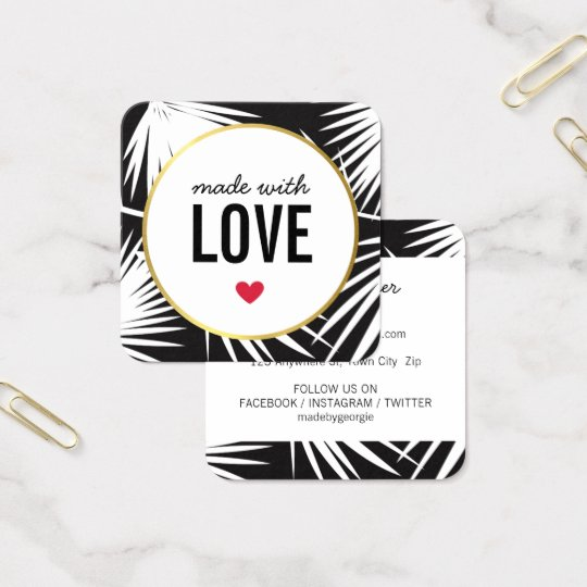 MADE WITH LOVE cute packaging palm leaves black