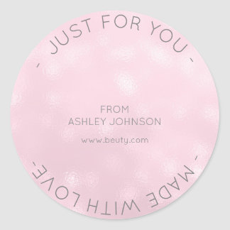 Made With Love Diamond Pink Frozen Glass Round Sticker