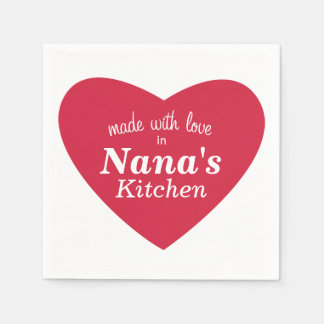 Made with Love Food Label Paper Napkin