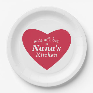 Made with Love Food Label Paper Plate