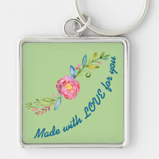 Made With Love For You Flower Key Ring