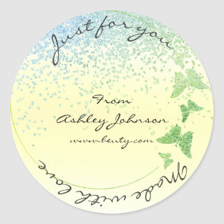 Made With Love For You Name Butterfly Yellow Mint Round Sticker
