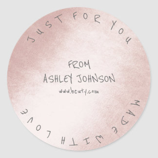 Made With Love For You Name Gray Pink Pastel Classic Round Sticker