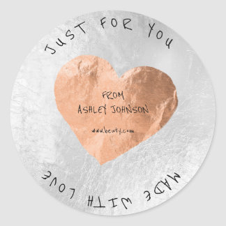 Made With Love For You Name Pink Rose Gold Silver Round Sticker