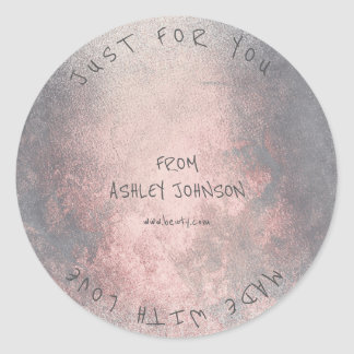 Made With Love For You Name Pink Rose Grungy Gray Classic Round Sticker