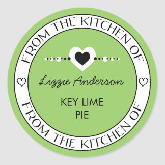 Made with Love From the Kitchen of Label   Green Round Sticker