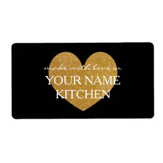 Made with love gold heart homemade food labels