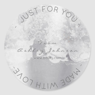 Made With Love Grungy Metallic Silver Gray Minimal Round Sticker