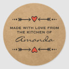 Made with Love Hearts Arrows Kitchen Paper Classic Round Sticker