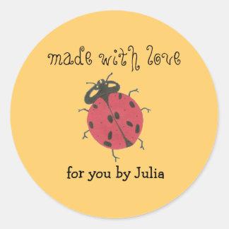 """Made With Love"" label Round Sticker"