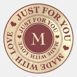 Made With Love Monogram Gold Black Maroon Classic Round Sticker