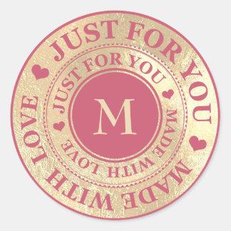 Made With Love Monogram Gold Raspberry Pink Classic Round Sticker