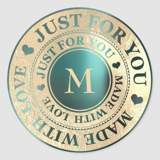 Made With Love Monogram Gold Teal Metallic Classic