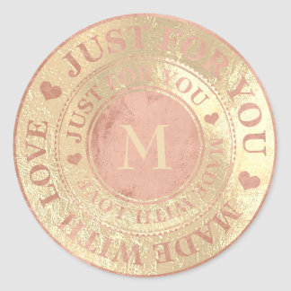 Made With Love Monogram Rose Gold Metallic Classic Round Sticker