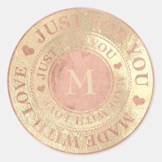 Made With Love Monogram Rose Gold Metallic Classic Round Sticker
