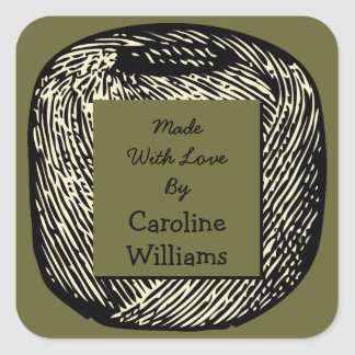 Made With Love Olive Green Black Ball of Yarn Square Sticker